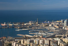 Port of Genoa, panorama. Port of Genoa landscape taken with polarizer filter Royalty Free Stock Photos