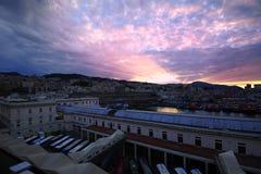 Port of Genoa Sunrise Stock Image