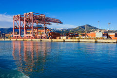 Port of Genoa. Various cranes in the port of Genoa, in Liguria, Italy Royalty Free Stock Images