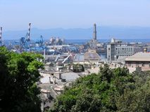 Port of Genova. View from the hill above town stock photos