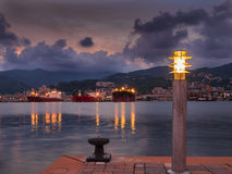 Port of Genova Voltri at sunset Stock Photo