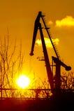 Port giraffe. Port crane on the sunset days Royalty Free Stock Photo