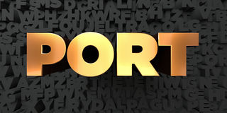 Port - Gold text on black background - 3D rendered royalty free stock picture Stock Photography
