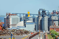 Port grain dryer and train Stock Images