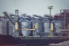 Port grain elevator. Industrial sea trading port bulk cargo zone grain terminal Stock Images