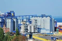 Port grain silo. Grain silo in the port of Odessa, Ukraine Royalty Free Stock Photo