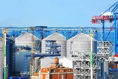 Port grain silo. Grain silo in the port of Odessa, Ukraine Stock Photos