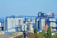 Port grain silo. Grain silo in the port of Odessa, Ukraine stock photo