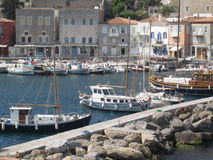 Port of Greece's' Island. View of a small port in a village in Greece's island,Hydra Stock Photo