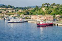 Port of the Greek island Corfu with passanger terminal and ferry Stock Photo