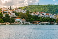 Greek island city. The port on the Greek island of Skiathos at sunset, September 2018 stock photos
