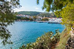 Greek island port. The port on the Greek island of Skiathos at sunset, September 2018 royalty free stock photo