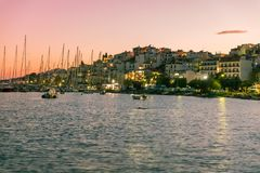 Yacht at sunset. The port on the Greek island of Skiathos at sunset, September 2018 royalty free stock photos