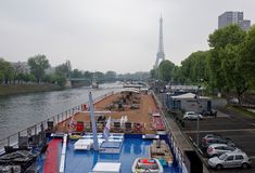 In the port of Grenelle there are ships and cars Royalty Free Stock Image