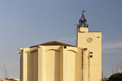 Port Grimaud, village church with a quadratic tower, France Royalty Free Stock Images