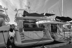 Port Grimaun in black and white, yachts. Black and white, port Grimaud Stock Photos