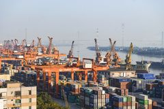 Port in Guangzhou Huangpu royalty free stock images