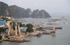 Port in Ha long city, Vietnam Royalty Free Stock Photo