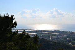 Port of Haifa, sea view of Haifa city, downtown, Israel stock photography