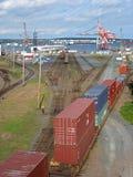 Port of Halifax. Railway tracks end at the port of Halifax, Nova Scotia Stock Image