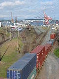 Port of Halifax. Railway tracks end at the port of Halifax, Nova Scotia Royalty Free Stock Photo