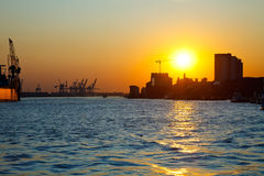 Port of Hamburg. Sunset in the port of Hamburg, Germany Stock Photography