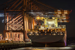 Port of Hamburg; containerbridges Royalty Free Stock Images