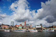 Port of Hamburg. And the Elbe with boats Royalty Free Stock Images