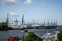 Port Hamburg Germany biggest industrial Harbor Stock Photos