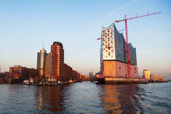 Port of Hamburg, Germany, with the construction site of the Elbphilharmonie Royalty Free Stock Photo