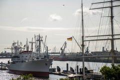 Port Hamburg Germany ship lying in Harbor Stock Photography