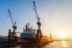 Port of Hamburg, Germany, at sunset Royalty Free Stock Images