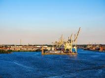 Port of Hamburg in Hamburg hdr. HAMBURG, GERMANY - CIRCA MAY 2017: Hamburger Hafen (Port of Hamburg) sea port on the river Elbe, hdr Royalty Free Stock Images