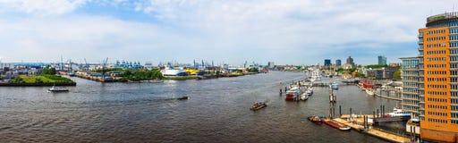 Port of Hamburg in Hamburg hdr. HAMBURG, GERMANY - CIRCA MAY 2017: Hamburger Hafen (Port of Hamburg) sea port on the river Elbe, high resolution panoramic view Royalty Free Stock Image