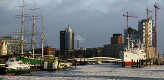 Port of Hamburg and Opera Royalty Free Stock Photo
