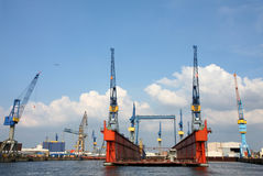 Port of Hamburg on the river Elbe, Germany Stock Image