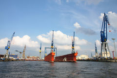 Port of Hamburg on the river Elbe, Germany Stock Photos