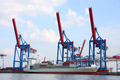 Port of Hamburg on the river Elbe, the largest port in Germany Stock Photos