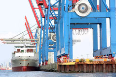 Port of Hamburg on the river Elbe, the largest port in Germany Royalty Free Stock Photo