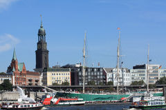Port of Hamburg with St. Michaelis Church Stock Images