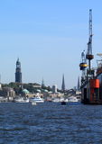Port of Hamburg with St. Michaelis Church Stock Photography