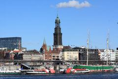 Port of Hamburg with St. Michaelis Church Royalty Free Stock Photos