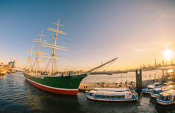 Rickmer Rickmers. Port of Hamburg during sunset Stock Images
