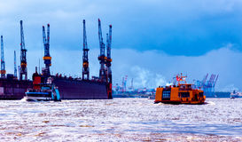 Port of Hamburg, view from the Landungsbruecken, Germany Royalty Free Stock Photo