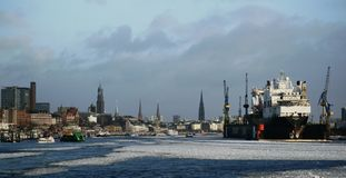 Port of Hamburg in the Winter Royalty Free Stock Image