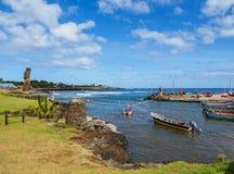Port in Hanga Roa on Easter Island, Chile. Fishermen Port in Hanga Roa, Easter Island, Chile Royalty Free Stock Photos