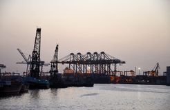 Port and harbor crane gantries Karachi Pakistan Stock Images