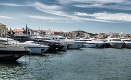 Port and harbor in Saint-Tropez. Grimaud. One of the most popular destinations on the French Riviera royalty free stock photo
