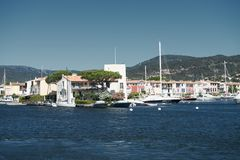 Port and harbor in Saint-Tropez. Grimaud. One of the most popular destinations on the French Riviera royalty free stock image