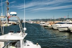 Port and harbor in Saint-Tropez. Grimaud. One of the most popular destinations on the French Riviera stock photo